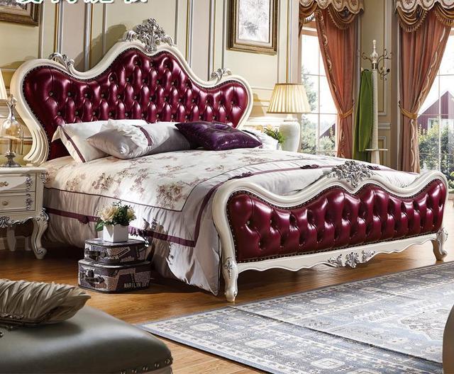Style Européen Solide Wod King Size Chambre À Coucher Avec Deux À Côté  Tables Meubles Lit