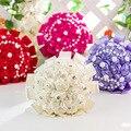 Beaded Wedding Bouquet Red Silk Flowers Brooch Bouquet Wedding Accessories Bridesmaid Artifical Wedding Flowers Bridal Bouquets