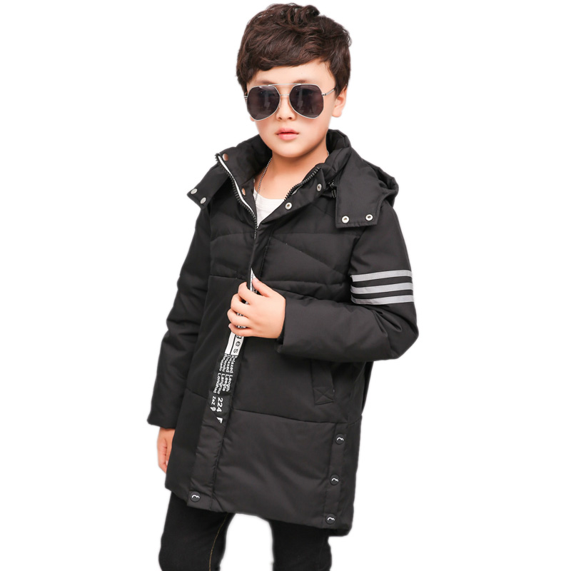 цена Children Winter Coats 2018 Boys Winter Jackets Fur Hooded Teenage Boys Winter Coats Children Duck Down Jackets Kids Outerwear