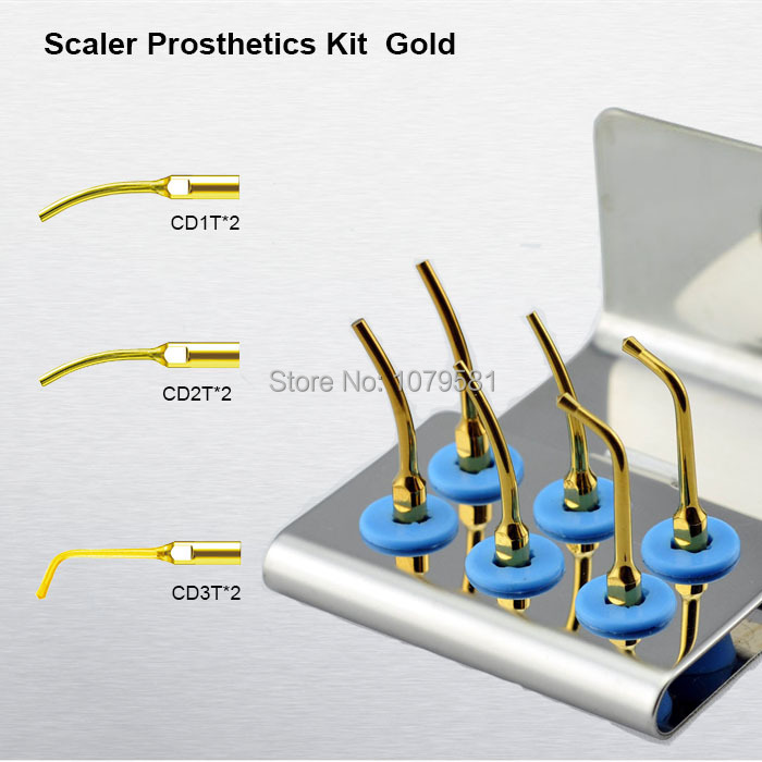1 set SPRKG Scaler Prosthetics Kit Gold  High quality CD1T CD2T CD3T dental laboratory equipment for dental satelec kit dental 2 sets seks satelec endosuccess kit for dental endodontics treatment fit gnatus nsk hu friedy and woodpecker dte scalers