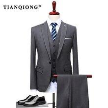 Тянь QIONG 2017 известный бренд мужские костюмы Свадебные Жених плюс размеры 4XL 3 предмета в комплекте (куртка + жилет брюки) Slim Fit повседневное смокинг