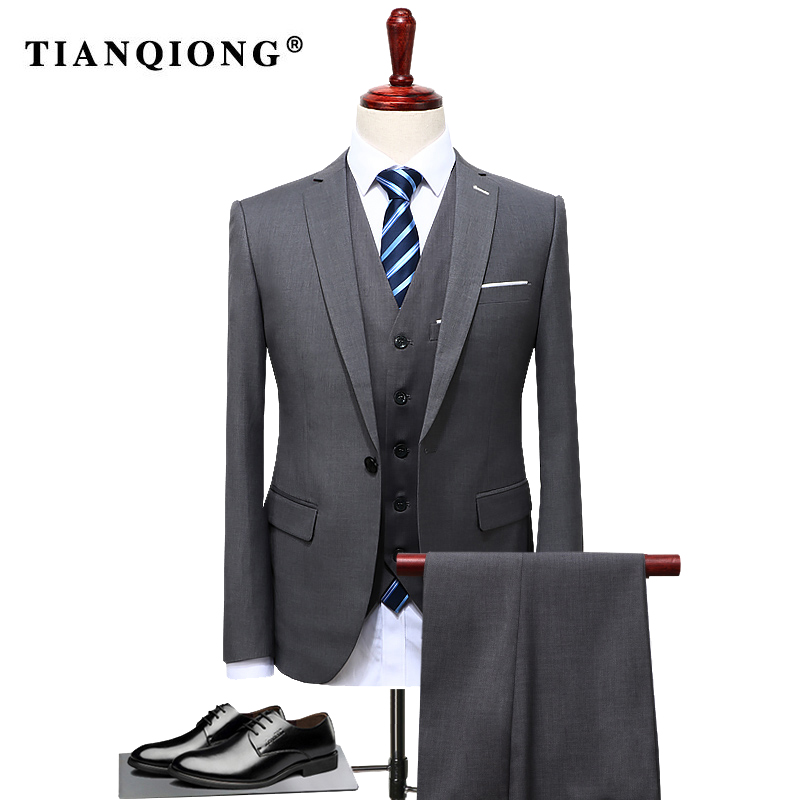 TIAN QIONG 2019 Famous Brand Mens Suits Wedding Groom Plus Size 4XL 3 Pieces(Jacket+Vest+Pant) Slim Fit Casual Tuxedo Suit Male-in Suits from Men's Clothing