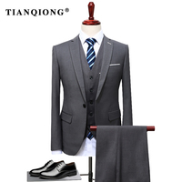 TIAN QIONG 2019 Famous Brand Mens Suits Wedding Groom Plus Size 4XL 3 Pieces(Jacket+Vest+Pant) Slim Fit Casual Tuxedo Suit Male