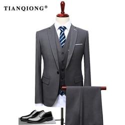 TIAN QIONG 2019 di Marca Famosa Mens Abiti Da Sposa Sposo Plus Size 4XL 3 Pezzi (Giacca + Vest + Pant) slim Fit casual Tuxedo Suit Maschile
