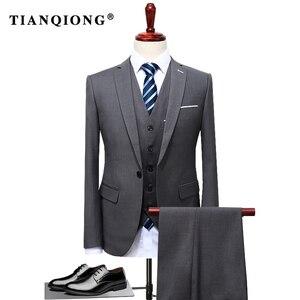 Image 1 - TIAN QIONG 2020 유명 브랜드 남성 정장 웨딩 신랑 플러스 사이즈 4XL 3 개 (자켓 + 조끼 + 바지) 슬림 피트 캐주얼 턱시도 정장 남성