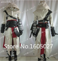 Anime High Quality Custom Made Clothing Assassins Creed 2 II White Action Figure Cosplay Costume Ezio Uniform Suit Any Size