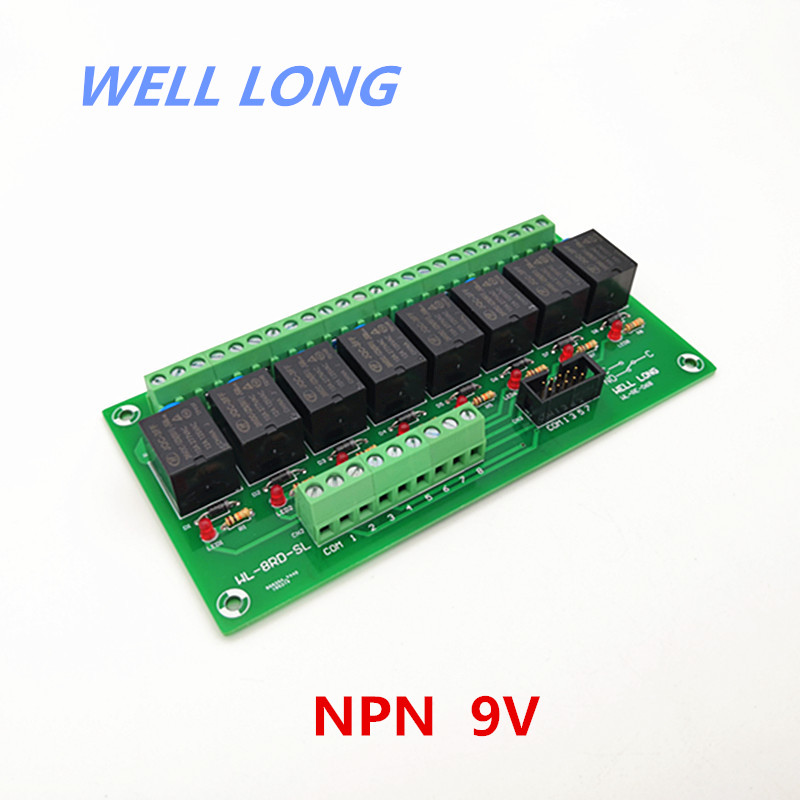 8 Channel NPN Type 9V 15A Power Relay Interface Module,HF JQC-3FF-9V-1ZS Relay.8 Channel NPN Type 9V 15A Power Relay Interface Module,HF JQC-3FF-9V-1ZS Relay.