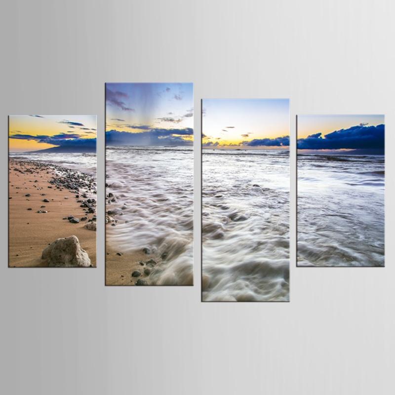4 kusy / sady plážových vln krajiny nástěnné umění tisk na plátně tisk obýváku domácí dekorace malba