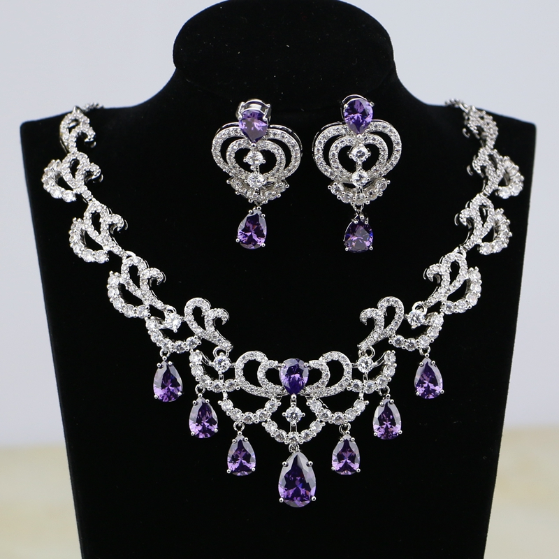 Purple Cz White Zircon Women Silver