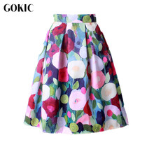 GOKIC 2017 Summer Women Vintage Retro Satin Floral Pleated Skirts Audrey Hepburn Style High Waist A-Line tutu Midi Skirt