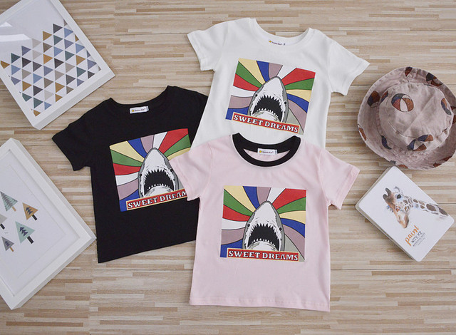 Padrão tubarão das crianças moda verão tops T-shirt de Algodão Do Bebê da menina do menino encabeça roupas de desenhos animados terno para 18M-7Y