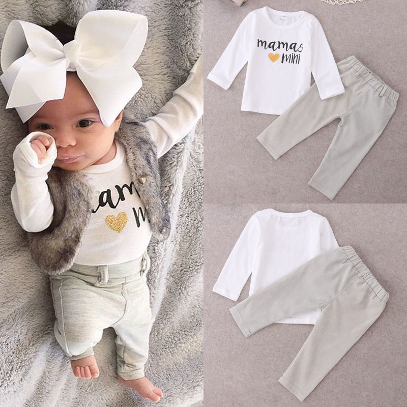 Newborn Baby Girl Boy Mamas Mini Tops T-shirt+ Long Pants 2pcs Outfits Set 0-24M organic airplane newborn baby boy girl clothes set tops t shirt pants long sleeve cotton blue 2pcs outfits baby boys set