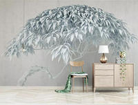Newest 8d Bamboo leaf Wall paper Mural 3D Tree Wallpaper sticker paper For Living room Sofa Background Wall Murals Decor