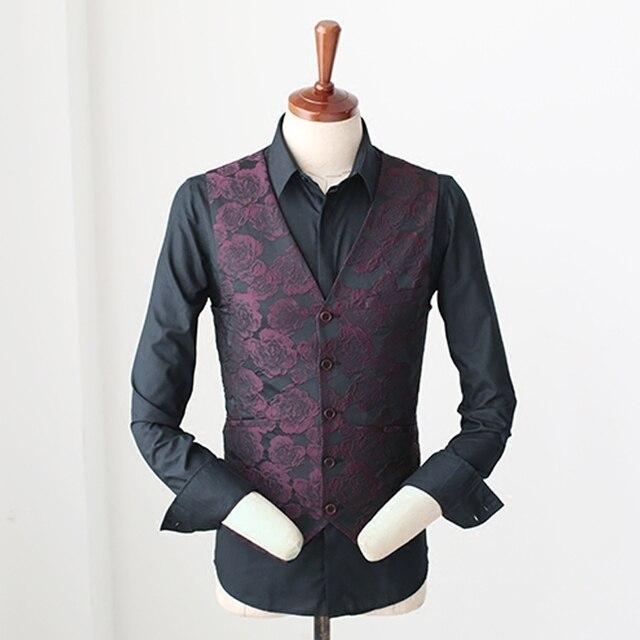 lila rote blume muster d nne weste m nner fashion business. Black Bedroom Furniture Sets. Home Design Ideas
