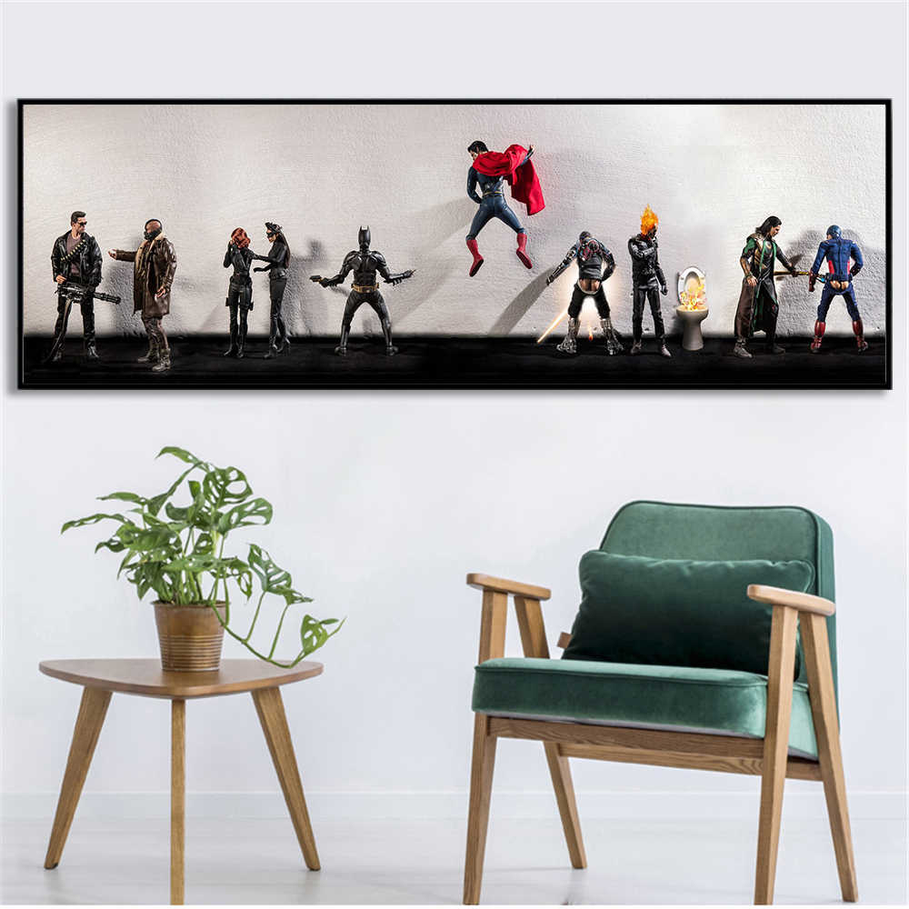 Abstract Wall Art Funny Superheros in Toilet Pee Urinate Secret Life Wall Pictures for Living Room Home Decor Big Canvas Poster