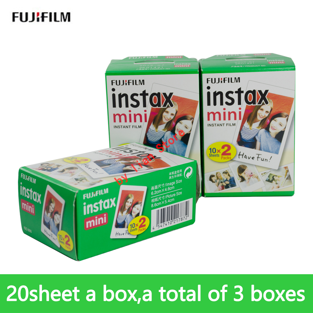 60 feuilles Fujifilm instax mini 9 8 films 3 pouces bord blanc pour appareil photo instantané mini 9 8 7 s 25 50 s 9 90 appareil photo Sp-2 film