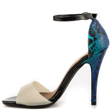 Beige Suede High Heel Stilettos Ankle Strap Blue Leather Women Sandal Open Toe Ladies Shoes Made-to-order US12 Women Shoes