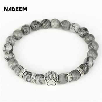 Hot Selling Natural Stone Mala Bead Yoga Bracelet Pitbull Dog Hand Paw 8mm Elastic Rope Bead