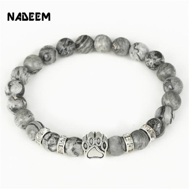 Hot Ing Natural Stone Mala Bead Yoga Bracelet Pitbull Dog Hand Paw 8mm Elastic Rope