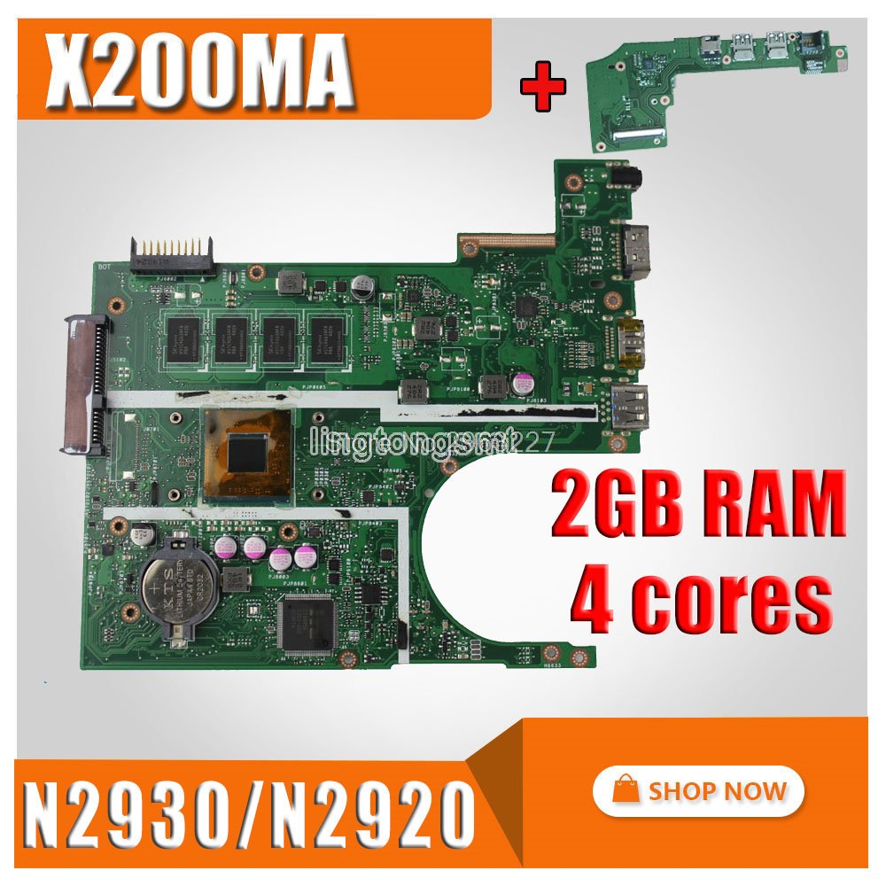 send board+X200MA Motherboard REV2.1 N2920/N2930 2GB For ASUS X200M F200M Laptop motherboard X200MA Mainboard X200MA Motherboard for asus motherboard f200ma f200m x200m x200ma rev2 1 mainboard with n3540u 4g memory test 100