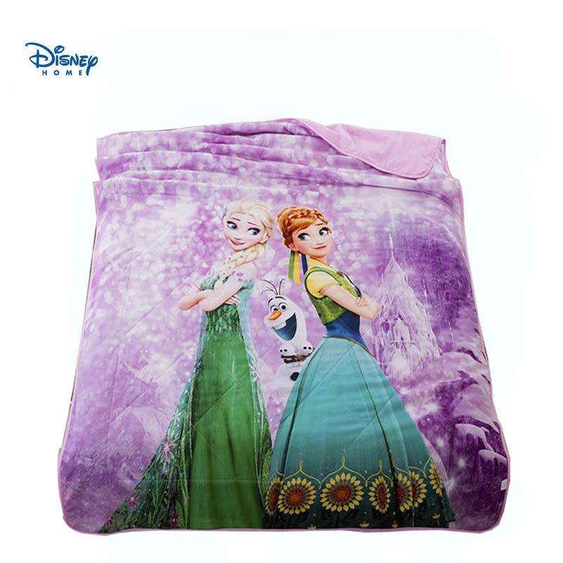 Violet disney reine des neiges linge de lit double taille jeter couverture 100% coton enfant literie pour fille 3d elsa couvre-lits reine été couette