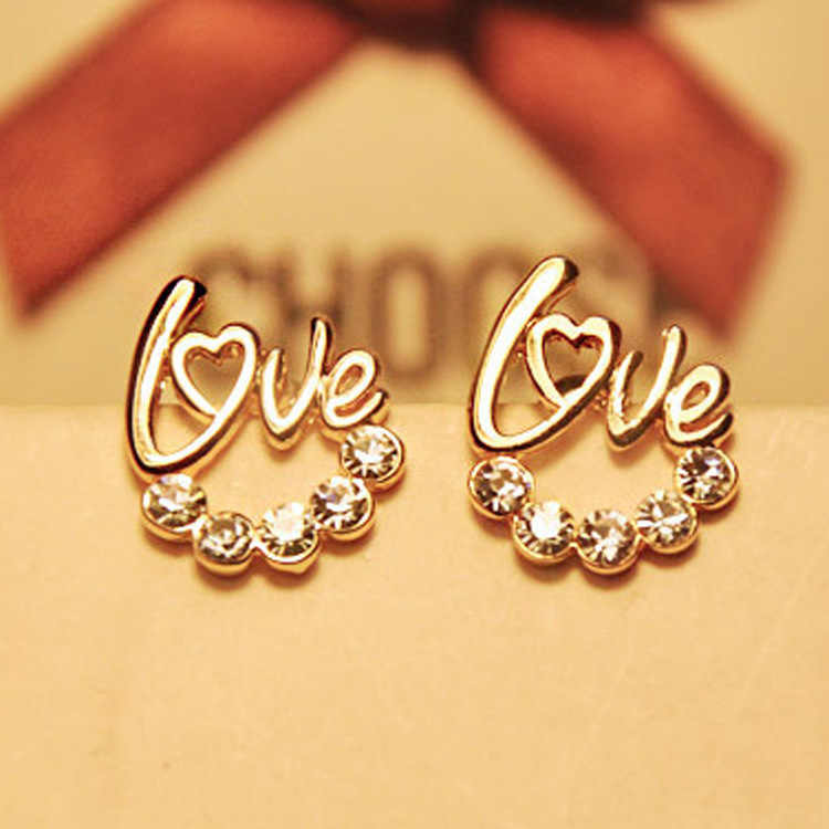 2016 New Fashion Love Heart Earrings Jewelry Gold Plating Zirconia Crystal Stones Stud Earrings Girls Female Boucle D'oreille