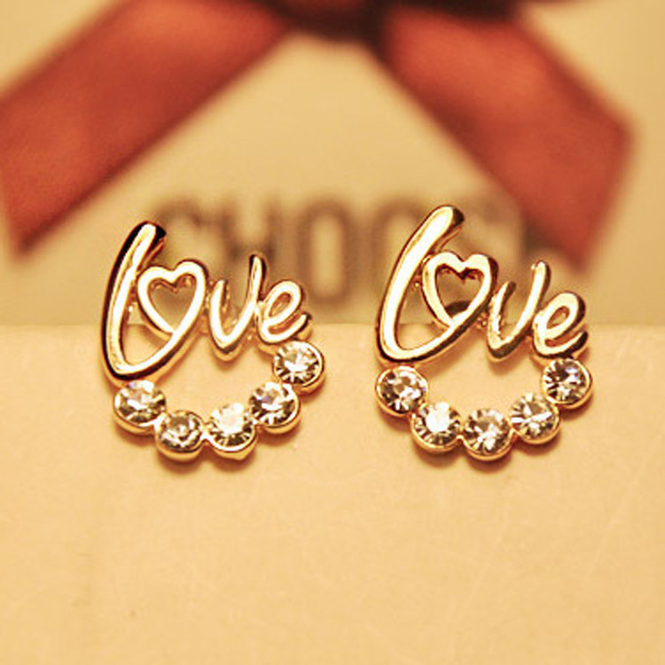 buy 2016 new fashion love heart earrings jewelry gold plating zirconia crystal. Black Bedroom Furniture Sets. Home Design Ideas
