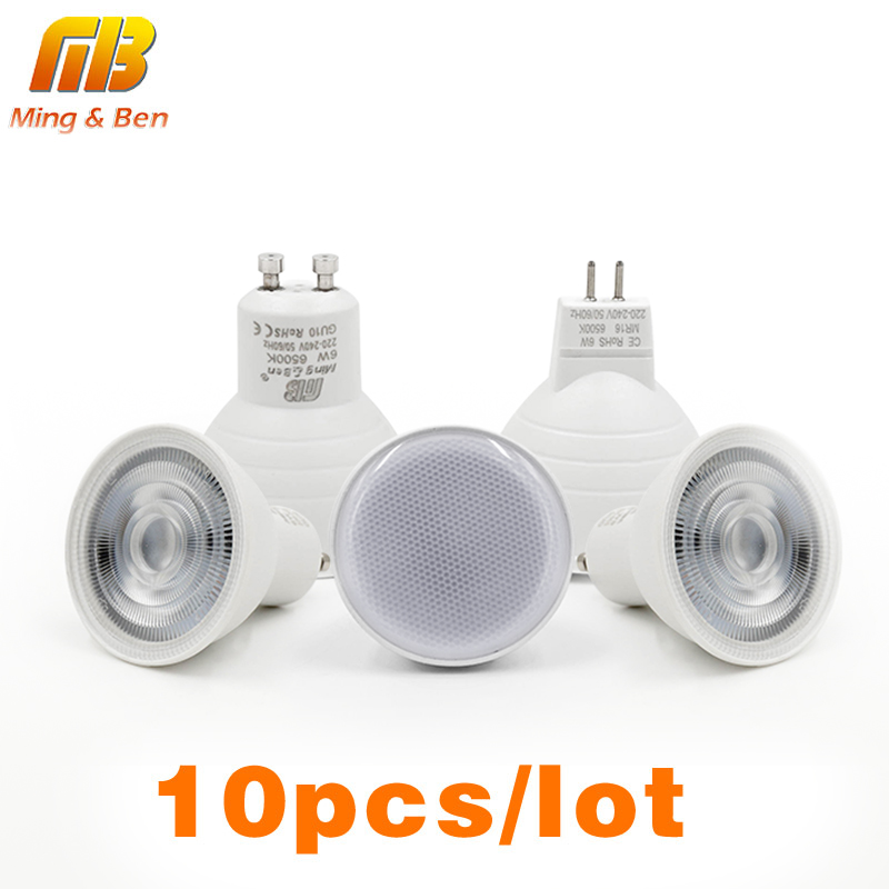 [MingBen]10pcs LED Light Bulb Spotlight GU10 MR16 E14 E27 6W 220V 230V COB Chip Beam Angle 24 120degree Spotlight For Table Lamp 1piece lot hot sale led spotlight bulb 3w mr16 gu10 gu5 3 e27 e14 230v free shipping