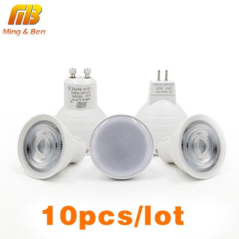 [MingBen]10pcs/Lot LED Light Bulb Spotlight GU10 MR16 6W 220V COB Chip Beam Angle 24 120degree Spotlight LED Lamp For Table Lamp mr beams светильник mr beams spotlight led на батареях с сенсорами корпус белый