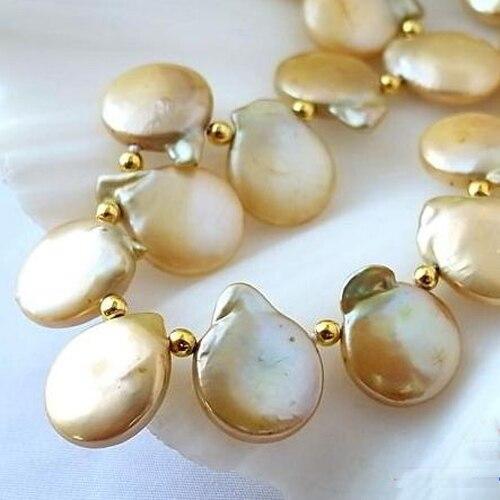 Perle parfaite Jewellery.20inches 4-14mm Champagne Pièce Collier Perle De Culture D'eau Douce, Nouvelle Livraison Gratuite