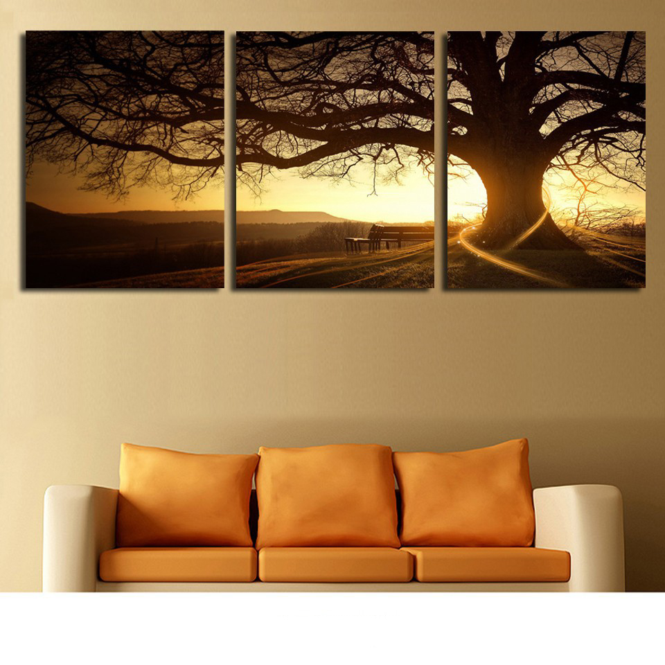 Hot Sale Home Decor Living Room Modular Pictures 3 Pieces Big Tree