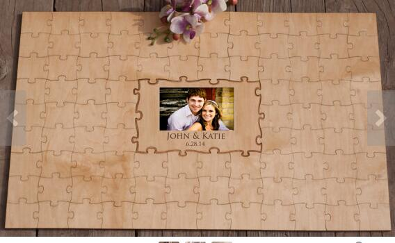 Personalisieren paare fotos rustikalen <font><b>puzzles</b></font> hochzeit tag gast bücher Alternative Holz guestbooks party favors dekorationen image