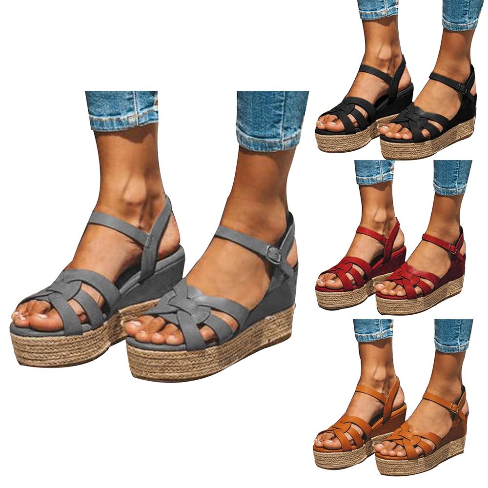 SHUJIN Wedges Sandals Shoes High-Heels Femme Plus-Size Summer Lady 43 PU Chaussures