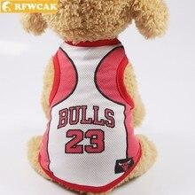 RFWCAK летний сетчатый жилет для животных номер Джерси средняя одежда для щенков спортивная баскетбольная футболка для еды товары для домашних животных