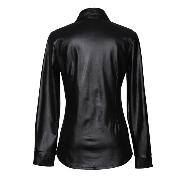 FeiTong PU leather blouses women sexy Long sleeves buttons womens tops and blouses ladies streetwear casual chic shirts lusas