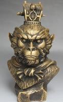 Chinesische Mythos Bronze Some Sun Wukong Monkey King Kopf Büste Statue Skulptur D0317-in Statuen & Skulpturen aus Heim und Garten bei