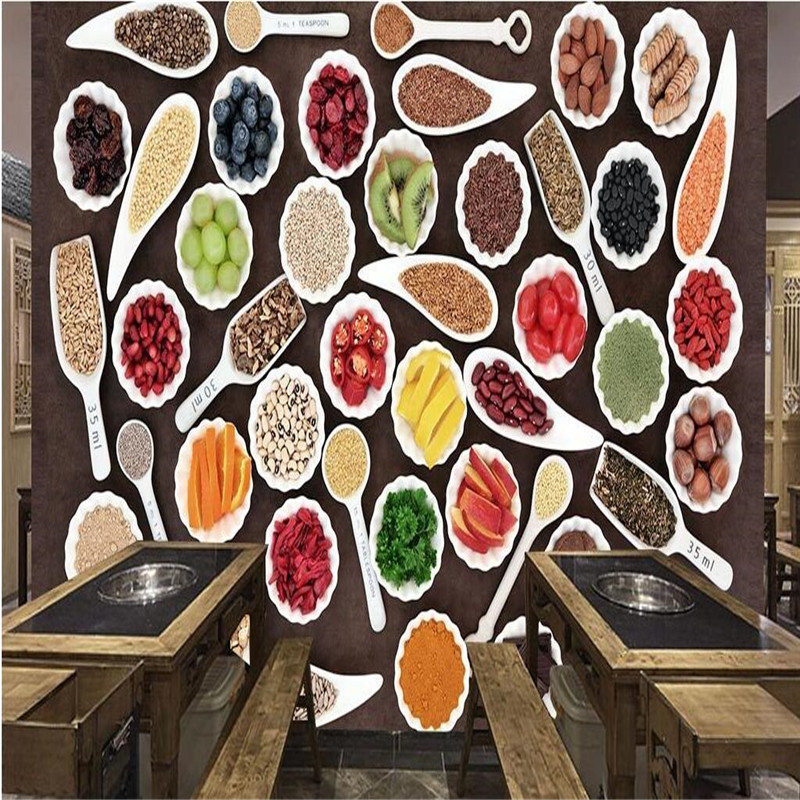 customize size mural wallpaper background vegetable plate with fruit restaurant home decor wall covering living room - Decorative Wall Plates