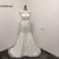 Fashion Real Photo High Neck Long sleeve Wedding dresses 2018 Vestido de noiva vestido de casamento Wedding gowns trouwjurk