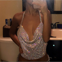 Hot Selling Halter Handmade Shiny Rhinestones Crop Top Backless Summer Beach Chic Party Bralette Cropped Sexy