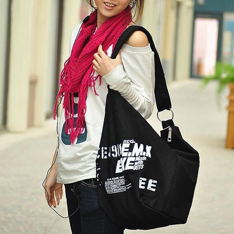 unisex canvas Messenger Bags Casual zipper Hobos bag Women large capacity Versatile Shoulder bags