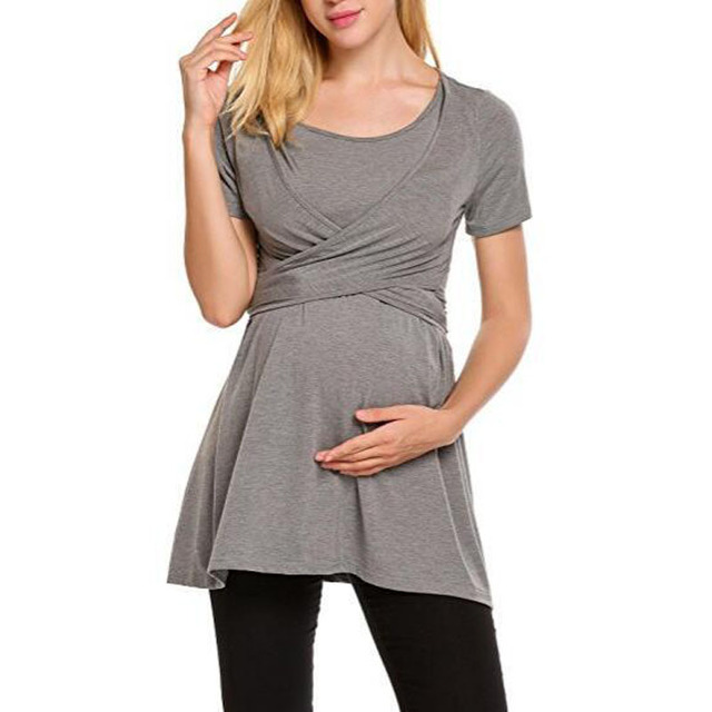 f0ea9f31618 Summer Women Fashion short Sleeve Tops Long T-Shirt Maternity Nursing  Breastfeeding Clothes Feeding For Pregnant Women Wear