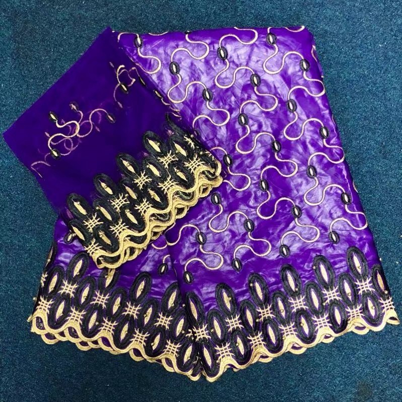 2018 African Bazin Riche lace fabric Germany classic dark purple genuine brocade gold beads cotton material for sewing Garment