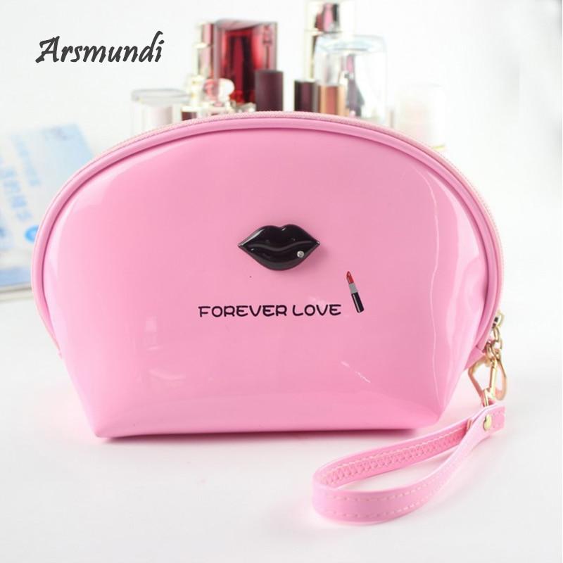 Arsmundi Mirror Leather Women Makeup Bag Beautician Necessaries Storage Bag Candy Color Waterproof Cosmetic Bag Hand Bag