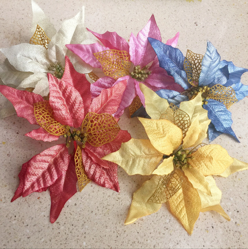 autumn series christmas flower heads 23cm artificial poinsettia flower for wedding christmas party decorative flowers - Christmas Poinsettia