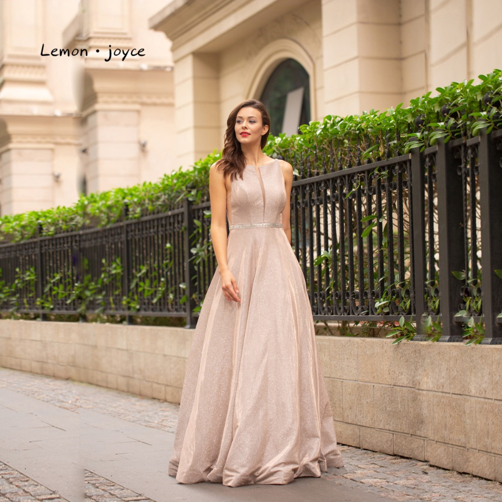 Lemon joyce Sexy Evening Dresses 2019 Elegant Scoop Neck Illusion Simple Backless A line Prom Party