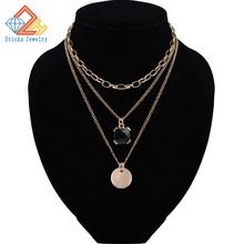 цена на Triple Layered Chain Choker Necklace for Women Black glass / round alloy fittings Necklaces Wholesale