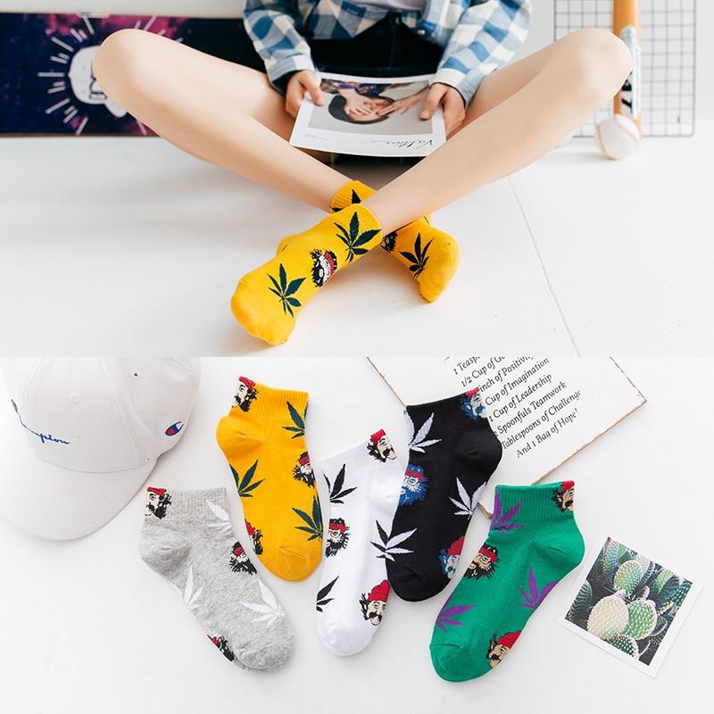 Sport Socks Cartoon Maple Leaf Socks Women Spring Summer Autumn Cotton Casual Short Socks Fashion Weed Socks Girl