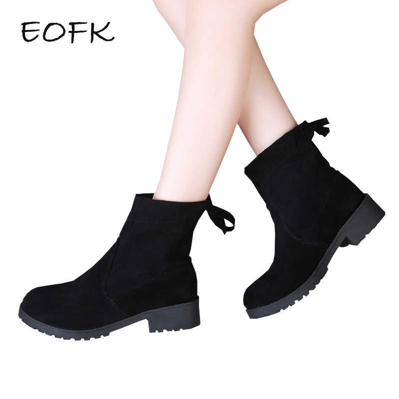 EOFK Kadın Akın yarım çizmeler kadın günlük çizmeler Kısa Peluş Sıcak Kış Ayakkabı Kadın Yeni moda bayan ayakkabı Kadın