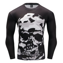 Boju 3D Printing New Pattern Long Sleeve Black Human Skeleton Close Man Motion T The Speed Do Clothes man tshirt(China)