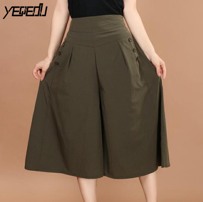 #5408 Summer 2018   Wide     Leg     Pants   Woman High Waist Calf-length Modal Loose Thin High Waist Trousers Casual Skirt   pants   Plus Size